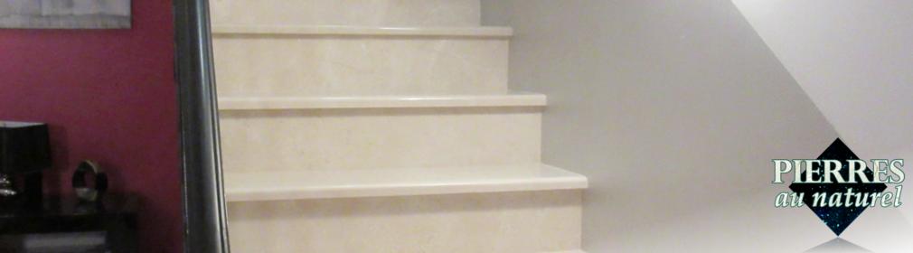 Marches d'escalier robustes et silencieuses en pierre naturelle